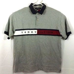 Tommy Hilfiger Polo Shirt Vintage 90s Gray XL